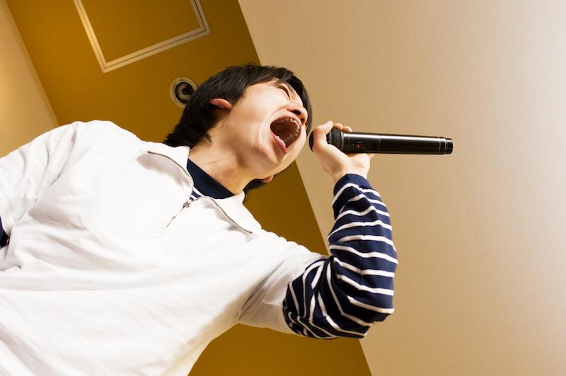 Man singing at karaoke
